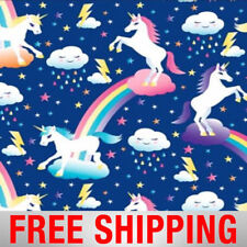 "Unicorn with Rainbows  Fleece Fabric - 60"" Wide - Style# 4328 - Free Shipping!"