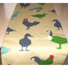 "Table Runner 180cm Roosters Ducks 72"" Blue Duck Egg Green 6ft Farmhouse Chicken"