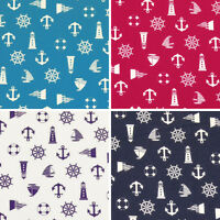 Cotton Fabric by Fat Quarters Nautical Sailboat Anchor Buoy Flag Lighthouse VA23