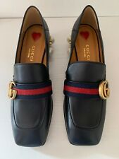 Gucci Mid-Heel Loafer Black Leather Size 2.5