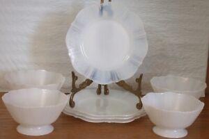 4 MacBeth Evans American Sweetheart White Opalescent Dessert Bowls & Underplates