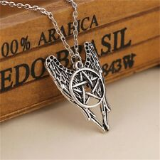 Supernatural Pentagram Castiel Angel Wing Necklace Wicca Talisman Pendants Chain