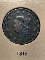 1816 Coronet Head Large Cent 1C Ch VF+++/XF