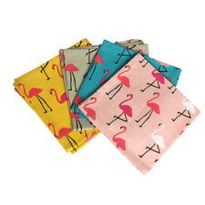 Dexam Lot De 4 Flamant Rose Tissu Serviette Coton à Motifs Été Pique-Nique Fête