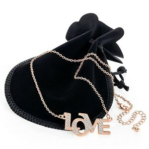 New Rose Gold Silver Crystal Love Pendent Chain Necklace Ladies Gift N32166