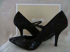MICHAEL KORS Flex Mary Jane Suede Sequin Lace Heels Shoes US 10 M EUR 41 NWB