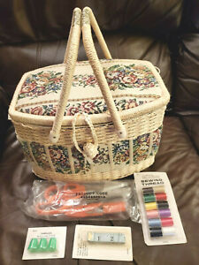 Tapestry Sewing Box Basket with double handle & Built in Pocket and Pin Cushion