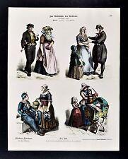 1880 Braun Costume Print - Holland Dutch Dress Family Fashion Citizens Children