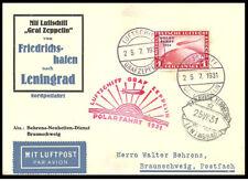 Zeppelin 1931 Polarfahrt, postcard with stamp variety 456.I