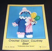TD CREATIONS CROCHET PATTERN LEAFLET 1988 CROCHET CLOWN COURTNEY BEAR