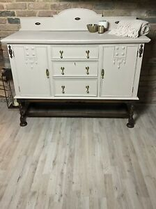 Vintage Solid Oak Sideboard painted white with walnut coloured barley twist legs