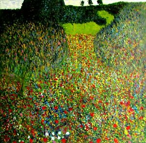 Gustav Klimt Field Poppies Repro 1905 Quality Hand Painted Oil Painting 36x36in