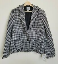 ADEC2 Philippe Adec Blazer Frayed Edge Houndstooth Wool Lined Buttons 14/48 NEW