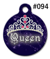 Pet Tags for Dogs & Cats | Personalized Custom Round ID Tag Cute QUEEN Crown 094