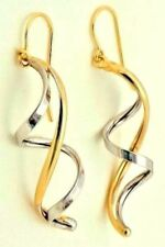 """14k Yellow And White Gold Helix Earrings Dangling 1.50"""" Long On Sale"""