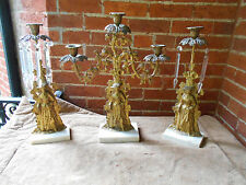 Antique Crystal Gold Plated Girandole Candelabra  Victorian Ladys  19th Century~
