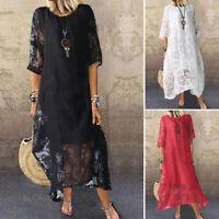 ZANZEA Women Summer Long Maxi Sundress Full Length Flare Swing Lace Floral Dress