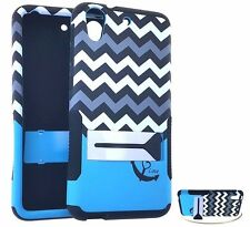 For HTC Desire 626 626S - HARD&SOFT RUBBER HYBRID CASE COVER BLUE CHEVRON STAND