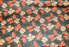 1/2 Yd Thimbleberries Quilt Fabric Autumn Fall Flare Rust Tan Leaves on Teal