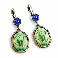 Sweet Romance Art Deco Egyptian KIng Tut Vintage Czech Glass Earrings E306 Green