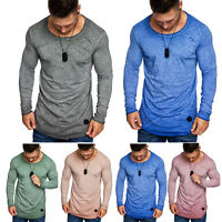 Men T-Shirts Long Sleeve Tee Plain Sport Jersey Casual Blouse Tops Muscle Tee US