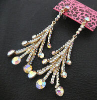 Betsey Johnson AB Glass Crystal Tower Long Dangle Drop Earrings