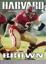 2001 Harvard vs Brown Football Program  - Ex Mint