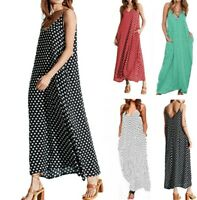 Women's Boho Polka Dot Sling Pocket Dresses Ladies Summer Holiday Beach Dress