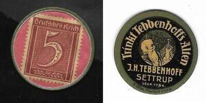 Fürstenau * Fa. J.H.SETTRUP 1921 : Briefmarken-Kapselgeld --> vz