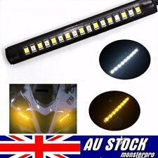 1pc Car Motorcycle 17 LED Strip Light Tail Turn Signal Indicator Amber/White