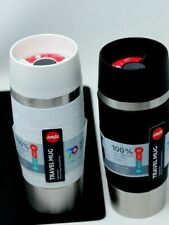 New Emsa Travel Mug ~ Choice White or Black ~ 12.2 fl oz ~ Soft Silicone and Sta