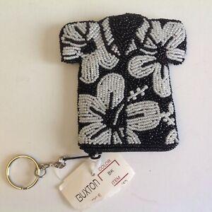 BUXTON Coin Purse Hawaiian Shirt Key Ring Beaded Black/White New
