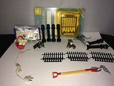 MINIATURE DOLLHOUSE OUTDOOR ITEMS - FENCE- LIGHT POST- CROQUET SET-GARDEN SET