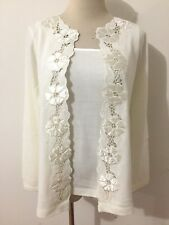 Susan Graver Style Twinset Sweater Ivory Crochet Cut-Out Applique Floral Trim XS