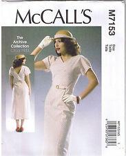 Vintage 30s Retro V Neck Back Dress Belt McCalls Sewing Pattern 14 16 18 20 22