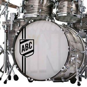 Custom Bass Drum Sticker Personalised Initials Shield Crest Kick Drum Decal UK