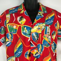 Vintage 80s Marc Daniels LOUD Red Beach Surf Sunglasses Hawaiian Shirt Size M