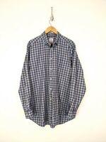 David Donahue Button Down Shirt Men XL Blue Purple Plaid Cotton