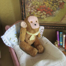 Antique SCHUCO MONKEY Vtg Miniature Dollhouse Stuffed Animal Mini Teddy Bear Toy