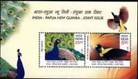 INDIA 2017 PAPUA NEW GUINEA Joint Issue Birds of Paradise Peacock Miniature