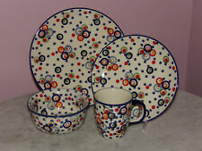 Polish Pottery 16 PC Dinnerware Set! Happy Happy Pattern!