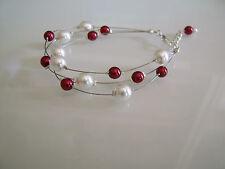 Bracelet Ivoire/Blanc/Bordeaux  pr robe de Mariée/Mariage/Soirée perles verre