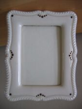 "Vintage Lenox Cream China Picture Frame 7"" x 5 1/2"" Green Mark"