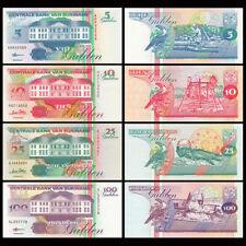 Mazuma *F750 Suriname 1998 5,10,25,100 Gulden Total 4Pc (Random) Set UNC