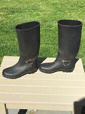 Waterproof Black Rain Boots Pull On Women's Size 7