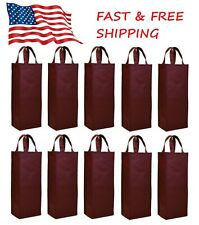 10 Pack Reusable Gift Bag Single Bottle Wine Tote Holder Vineyard USA SELLER