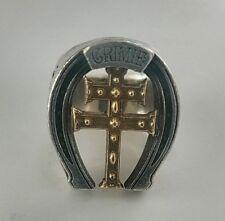 "CRIMIE Large HORSESHOE RING Silver 925 & 18k  Authentic Engrave ""FAITH"", ""TRUST"""