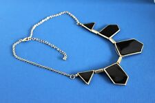 EQUIP 46 cm Goldtone Chain Necklace with 5 Black Enamelled Shapes  (B260)
