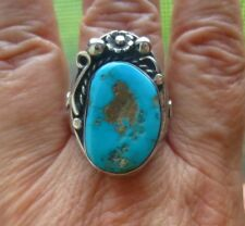 Sterling Silver Southwestern Turquoise Ring Flower Scroll Geometric Side Size 12