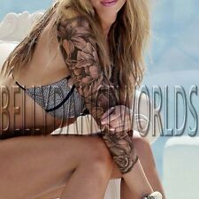 LILY FLOWER FLORAL FULL ARM SLEEVE GRAYSCALE TEMPORARY TATTOO BODY ART STICKER